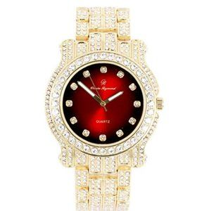 COPY - Bling-ed Out Silver Hip Hop Royalty Watch …